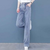 Denim Straight Vintage Style Zipper Closure Denim Jeans Pant - Light Blue