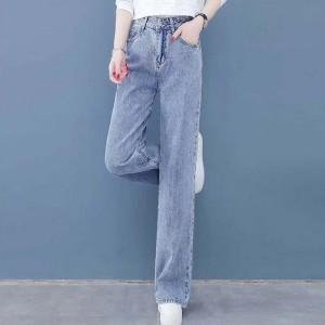 Denim Straight Vintage Style Zipper Closure Denim Jeans Pant - Light Blue