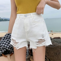 Button Closure Ripped Sexy Wear Shorts Pant - Apricot