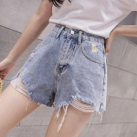 Ripped Straight Style Closure Button Mini Denim Shorts