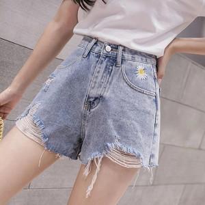 Ripped Straight Style Closure Button Mini Denim Shorts