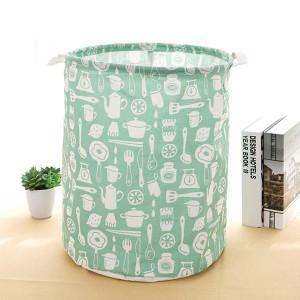 Flamingo Printed Round Fancy Save Space Laundry Storage Basket - Green