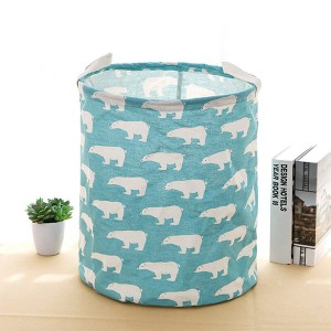 Flamingo Printed Round Fancy Save Space Laundry Storage Basket - Blue