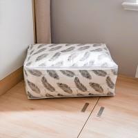 Flamingo Printed Zipper Creative Multipurpose Fabric Storage Box - Gray