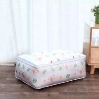 Flamingo Printed Zipper Creative Multipurpose Fabric Storage Box - White