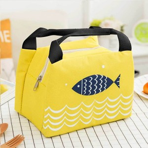 Printed Zipper Closure Heat Preservation Office Lunch Storage Bag - Yellow
