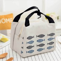 Printed Zipper Closure Heat Preservation Office Lunch Storage Bag -  Light Blue