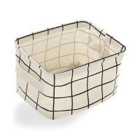Printed Fancy Home Space Saving Storage Canvas Basket - White
