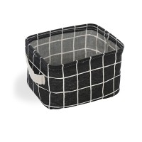 Printed Fancy Home Space Saving Storage Canvas Basket - Black and White