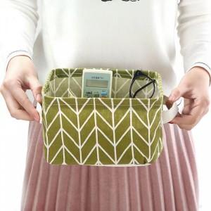Printed Fancy Home Space Saving Storage Canvas Basket - Green