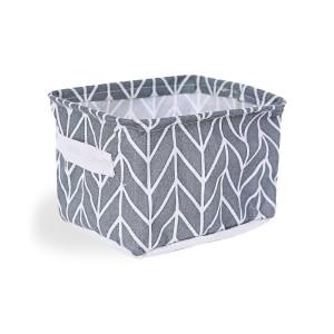 Printed Fancy Home Space Saving Storage Canvas Basket - Gray