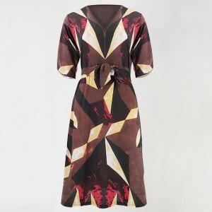 Geometric V Neck Half Sleeved Midi Dress - Red