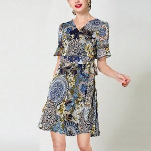 V Neck A-Line Floral Printed Short Sleeved Midi Dress - Multicolor