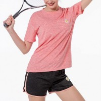 Mesh Pattern Two Pieces Sports Wear Suit - Pink