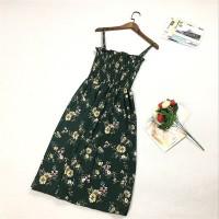 Strap Shoulder Printed Beach Wear Mini Dress - Green