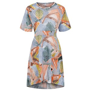 Irregular Round Neck Geometric Printed Multicolor Dress