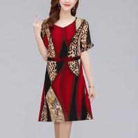Digital Prints V Neck Lantern Sleeves Dress - Red