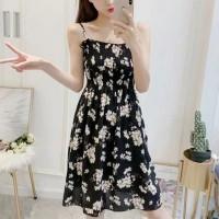 Strap Shoulder Printed Beach Wear Mini Dress - Black