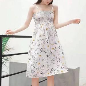 Strap Shoulder Printed Beach Wear Mini Dress - White