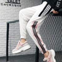 Nylon Striped Contrast Sports Wear Narrow Bottom Trousers - White