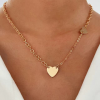 Braided Heart Pendant Gold Plated Women Fashion Necklace - Golden
