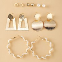 Six Pieces Multi Shaped Gold Plated Fancy Earrings Pair Set