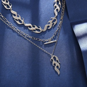 Firey Braided Pattern Silver Plated Three Layered Necklace