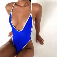 Contrast Slim Body Women Sexy Wear Swimsuit - Blue