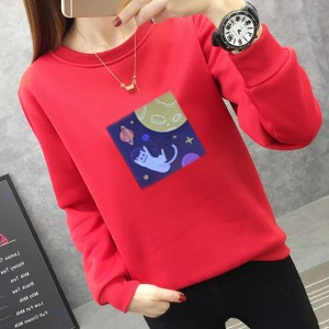 Graphical Printed Round Neck Fashion Wear Jumper Top - Red