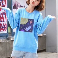 Graphical Printed Round Neck Fashion Wear Jumper Top - Blue