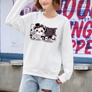 Cute Animal Printed Round Neck Fashion Wear Jumper Top - White