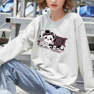 Cute Animal Printed Round Neck Fashion Wear Jumper Top - Gray