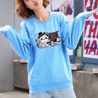 Cute Animal Printed Round Neck Fashion Wear Jumper Top - Blue
