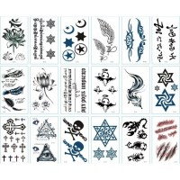 Multi Design Stars Casual Body Grooming Vintage Tattoo Stickers - Black