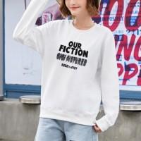Text Printed Round Neck Fashion Wear Jumper Top - White