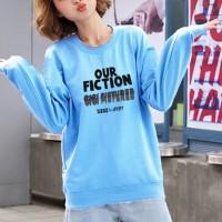 Text Printed Round Neck Fashion Wear Jumper Top - Blue