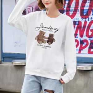 Bear Printed Round Neck Fashion Wear Jumper Top - White