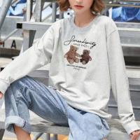 Bear Printed Round Neck Fashion Wear Jumper Top - Gray