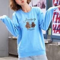 Bear Printed Round Neck Fashion Wear Jumper Top - Blue