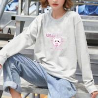 Printed Cartoon Women Fashion Loose Wear Jumper Top - Gray