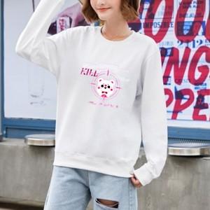 Printed Cartoon Women Fashion Loose Wear Jumper Top - White