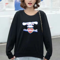 Cartoon Printed Women Fashion Loose Wear Jumper Top - Black