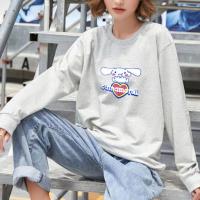Cartoon Printed Women Fashion Loose Wear Jumper Top - Gray