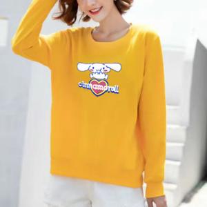 Cartoon Printed Women Fashion Loose Wear Jumper Top - Yellow