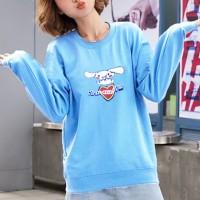 Cartoon Printed Women Fashion Loose Wear Jumper Top - Blue