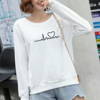 Heart Line Printed Round Neck Women Fashion Jumper Top - White