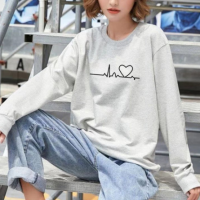 Heart Line Printed Round Neck Women Fashion Jumper Top - Gray