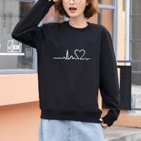 Heart Line Printed Round Neck Women Fashion Jumper Top - Black