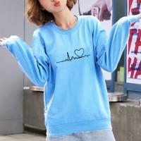Heart Line Printed Round Neck Women Fashion Jumper Top - Blue