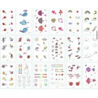 Cute Shapes Multi Design Vintage Style Casual Tattoo Stickers - Multicolor